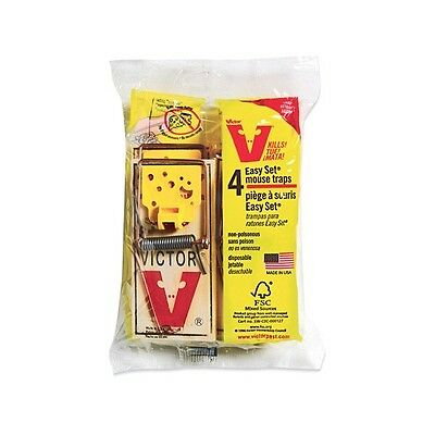 Victor 4 Pack, Mouse Trap, Original Wood Based Wire Snap Trap M032