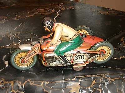 Antique Wind up Tin Motorcycle Toy with Sidecar CKO Kellerman 370 Litho Germany