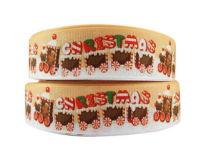 CUTE CHRISTMAS GINGERBREAD TRAIN CAKE RIBBON 2M X 22mm PERFECT FOR GIFT WRAP