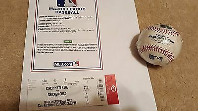 2016 CHICAGO CUBS GAME USED MLB BASEBALL 103rd WIN 10/2/16 Authentic KRIS BRYANT