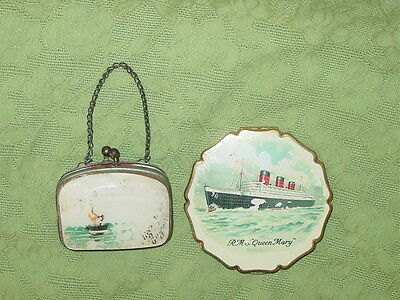 Antique Queen Mary Steamship Ocean Liner Coin Purse and Stratton Powder Compact