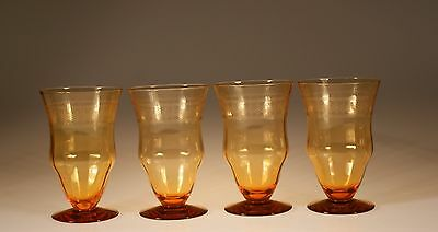 Set of 4 Deco Elegant Depression Era Ice Tea Tumblers Needle Point Etch c.1930
