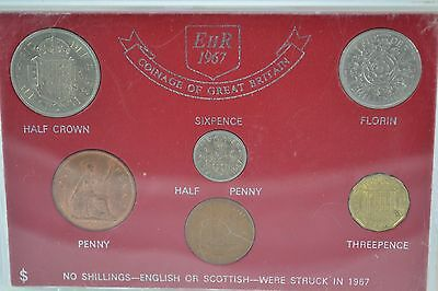 1967 Uk Great Britain Pre-Decimal Coinage Proof Set In Case