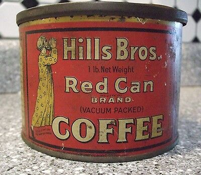 Hills Bros Coffee Red Can Brand Tin Can