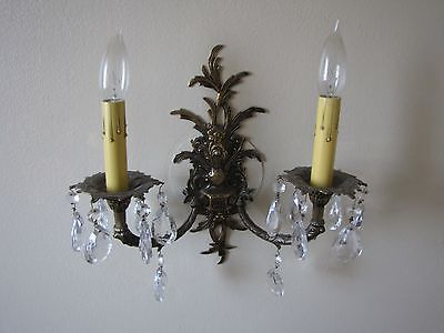 Antique Vintage Spanish  Wall Light Sconce Fixture Lamp with Crystals