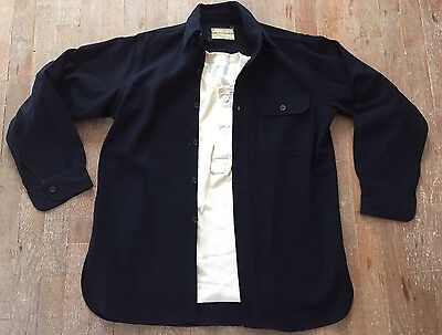 Vtg Rare WWII USN Naval Clothing One Pocket Gussets CPO Wool Shirt&Wool Thermal