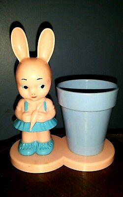 Vtg 1950's Knickerbocker Hard Plastic Bunny Girl Rattle & Cup Candy Container