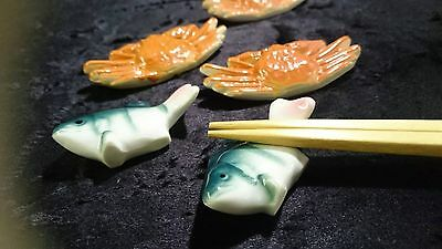 Ceramics, Japanese chopstick rest 10 of the pretty crab and fish