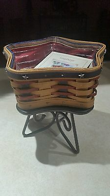 """Longaberger Proudly American """"Little Star"""" Basket With Liner, Protector & Stand"""