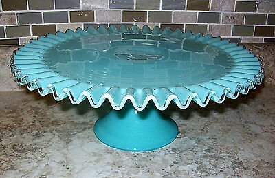 Fenton Vintage Glass Turquoise Blue Silver Crest Pedestal Cake Stand Plate 1950s