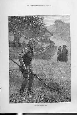Old Antique Print The Mower Fine Art 1880 57AAA1