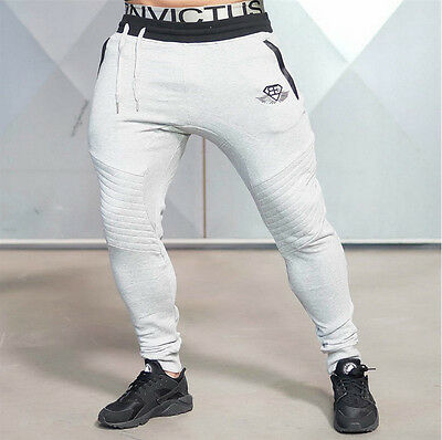 Mens Gym Sports  Pants Casual Elastic Cotton Blend Fitness Workout Pants Jogger