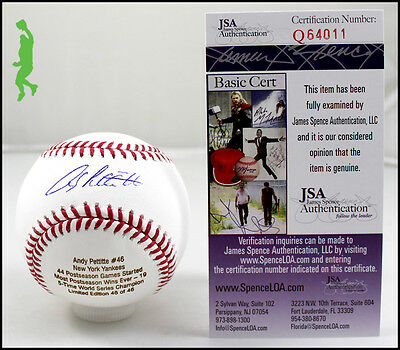 Andy Pettitte 19 Postseason Wins Autograph Signed Baseball Ball Yankees Jsa Coa