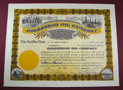 #440 - colorful! 1927 old GOLDENROD OIL CO / DALLAS, TEXAS stock certificate TX