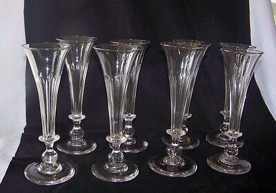 8 Early 19th C Hand Blown Flint Claret Clear Crystal Wine Glasses