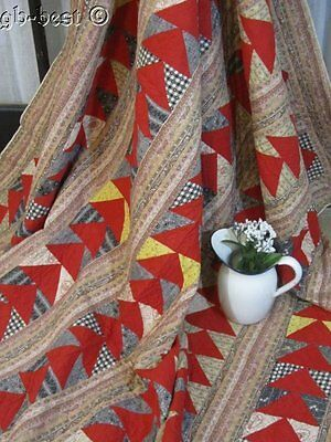 Antique PA 1890s Flying Geese Quilt CHRISTMAS Red 80 x 72 Festive