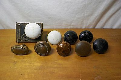 Lot of 9 Antique/Vintage Door Knobs- Porcelain, Brass