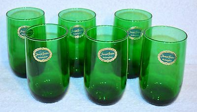 6 Anchor Hocking Forest Green Flat Tumblers Roly Poly Nos W/ Labels Christmas
