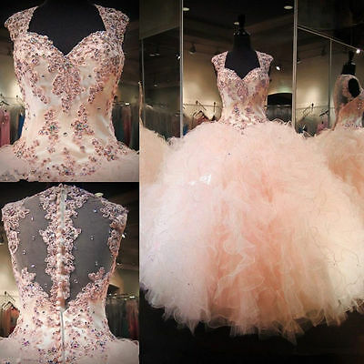 New Pink Quinceanera Dresses Ball Gown Prom Party pageant Dresses Custom Size