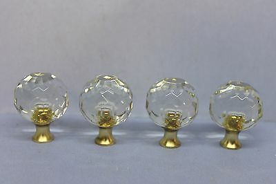 Lot of 4 Multi Faceted Spherical Ball Glass Drawer Cabinet Door Knobs w/ Screws