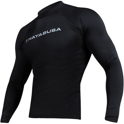 Hayabusa Haburi Breathable Wicking Long Sleeve Compression Rashguard - Black