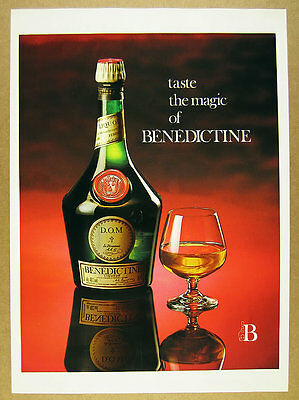 1985 Benedictine Liqueur bottle & snifter photo vintage print Ad