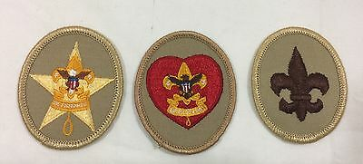 Lot Of 3 Vintage Boy Scout Badges Star Life And Scout