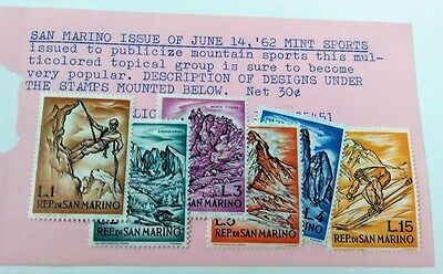 1962 San Marino Sports stamps 519-24 Lot of 6 MH
