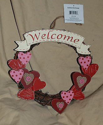 Heart Valentines Day Welcome Wooden Wreath Decoration Plaque Sign Rustic