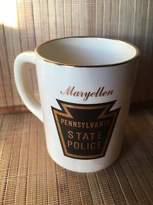 Vintage Pa Pennsylvania State Police Coffee Cup Mug Old Style Patch