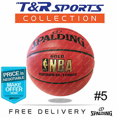 Size 7 Spalding Gold NBA Leather Basketball Indoor Outdoor Free Delivery