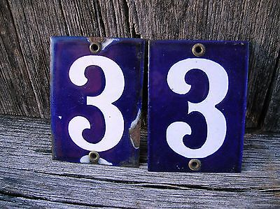 "Vintage Old Antique Porcelain Cobalt Blue/White ""33"" House/Apartment Sign"