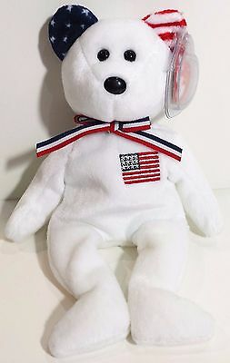 """TY Beanie Babies """"AMERICA (White)"""" USA TEDDY BEAR - MWMTs! RETIRED & A MUST HAVE"""
