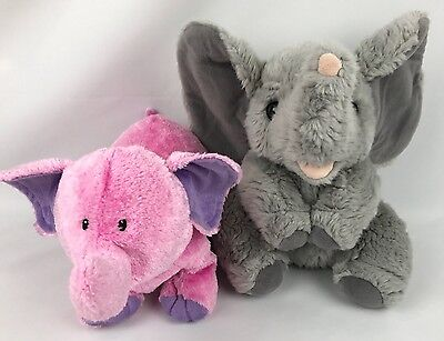 ELEPHANT Plush Lot of 2- A&A Gray Stuffed Animal Baby Gund Chubbles Pink CLEAN