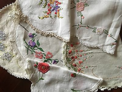 Lovely Lot 6 Vintage Linen Hand Embroidered Centrepiece Doilies Craft or Use