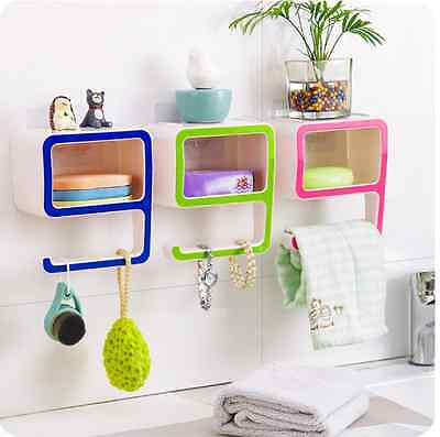 Number 9 Shape Wall Suction Bathroom Organizer Soap Towel Rack Holder Bath Shelf