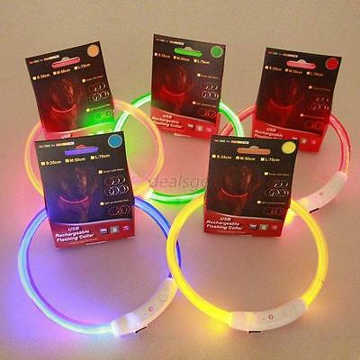 LED Dog Collar Rechargeable USB Adjustable Flashing Safety In Night Fits All Pet