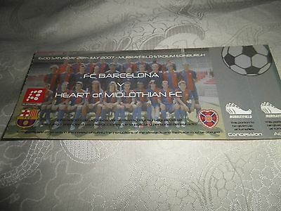 Hearts V Barcelona Friendly Full Ticket In Mint Condition.