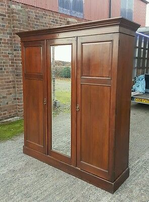 Magnificent, large triple antique wardrobe armoire Edwardian/Victorian fitted