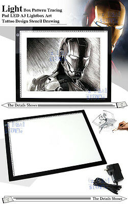 A3 LED Light Box Art Design Stencil Drawing Pattern Tracing Pad Lightbox Board