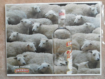 1996 Print Ad Smirnoff Vodka Wolf in Sheeps Clothing Inside the Bottle
