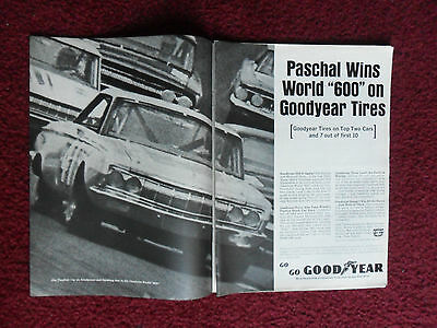 """1964 Print Ad Goodyear Tires ~ Paschal Wins Charlotte World """"600"""" AUTO RACE"""