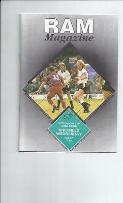 Derby County v Sheffield Wednesday Littlewoods Cup Football Programme 1989/90