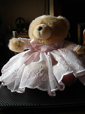 "Forever friends plush bear 12"" tall dressed in pink and white sheer dress"