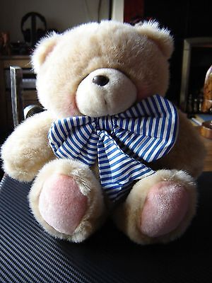 "Forever friends plush bear 12"" tall blue bow"