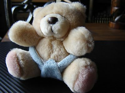 """Forever friends plush baby bear in blue nappy 4.5"""" seated."""