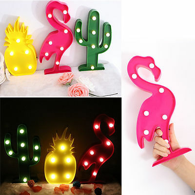 LED Flamingo Night Light  Marquee Sign Pineapple Cactus Lamp Home Decor