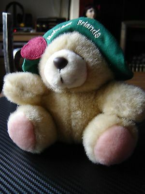 "Forever friends plush bear in hat which reads ""Between Friends"" 5"" seated."