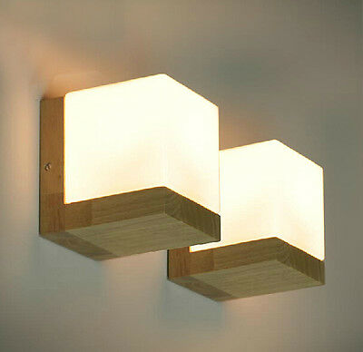 Oak Wood Frame Wall Lamp Glass Cover Light DIY Lighting Home Cafe Comfort Simple