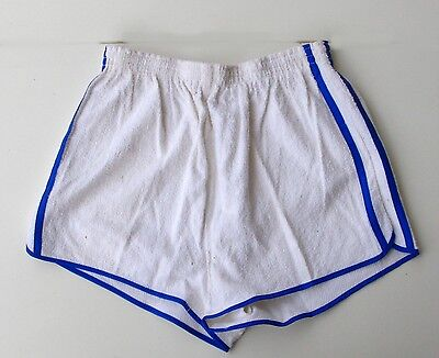 Short de Tennis homme  - Vintage authentique - 2 Bandes Blanc - France - T 40 -